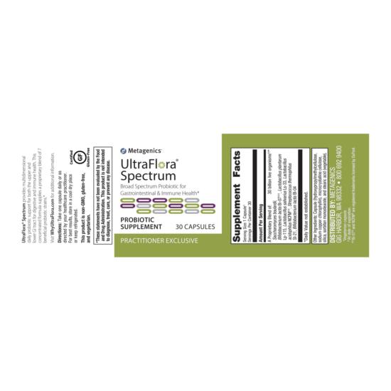 UltraFlora Spectrum Label for Gut Health